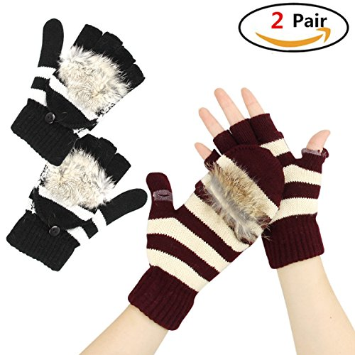 Convertible Gloves 2 Pairs with Mitten Flap Cover Faux Fur Knitted Fingerless Glove