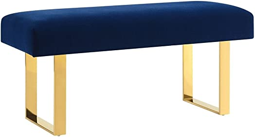 Tov Furniture The Alexis Collection Contemporary Style Velvet Upholstered Salon Bench, Navy with Gold Legs