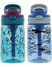 Contigo Kids Water Bottle, 14 oz with Autospout Technology – Spill Proof, Easy-Clean Lid Design – Ages 3 Plus, Top Rack Dishwasher Safe – Eggplant Unicorns & Honeydew Dragon & Cotton Candy Sharks
