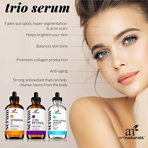 512uWh3VCIL - ArtNaturals Anti-Aging-Set with Vitamin-C Retinol and Hyaluronic-Acid - (3 x 1 Fl Oz / 30ml) Serum for Anti Wrinkle and Dark Circle Remover - All Natural and Moisturizing