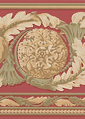 Beautiful Gold Green on Red Modern Damask Wide Wallpaper Border Traditional Design, Roll 15' x 9''