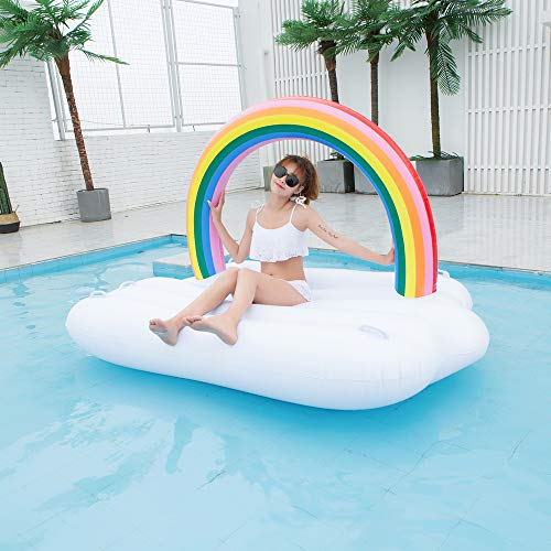 TechCode Inflatable Pool Float, Multi-Purpose Summer Inflatable Bad Portable Pool Float Mattress Sunbathe Comfort Lounge Bad Beach Mat Water Party Inflatable Float Holiday Toy,83x57x53 inch by TechCode (Image #8)