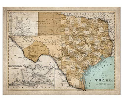 Giclee Map of Texas - Large Vintage Map of The Lone Star State - Ready to Frame (Size 28 x 22 inches) - Great Housewarming Gift, Birthday Present, Home Decor