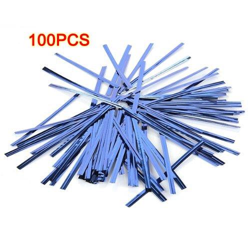 [Sonline 100 Pcs Blue Metallic Plastic Twist Ties for Cello Lollipop Candy Bags Bakery] (Metallic Blue Twist)