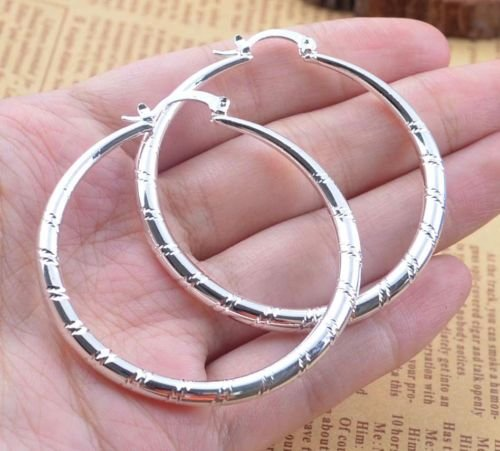 Saengthong Women Fashion 925 Sterling Solid Silver Ear Stud Hoop Earrings Wedding (Hoop Necklace Necklace Hoops)