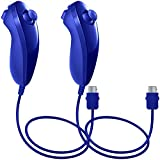 Nunchuck Controllers for Nintendo Wii U, AFUNTA 2 Packs Replacement for WII U Video Game - Dark Blue