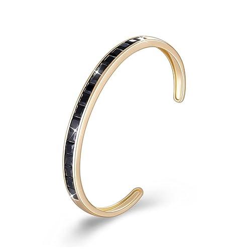 61fd59d2bd7 DiLiCa Women Champagne Gold Plated Bronze Open Cuff Bangle Bracelet Girl Classic  Charm CZ Cubic Zirconia
