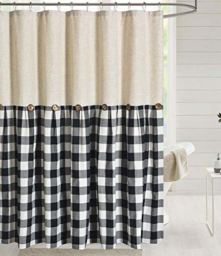 DOSLY IDÉES Linen Button Farmhouse Shower Curtain,Linen and Cotton Fabric,Pleated Black and White Check,Country Style…
