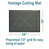 "Dahle Vantage 10672 Self-Healing Cutting Mat, 18""x24"", 1/2"" Grid, 5 Layers for Max Healing, Perfect for Cropping, Sewing, & Crafts, Black"