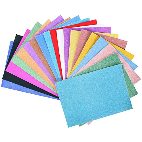 Glitter Cardstock Paper Pack, 30 Sheets Pack A4 Glitter Paper Glitter Self-Adhesive Sticker Sticky Back Paper, 10 Assorted Colors.