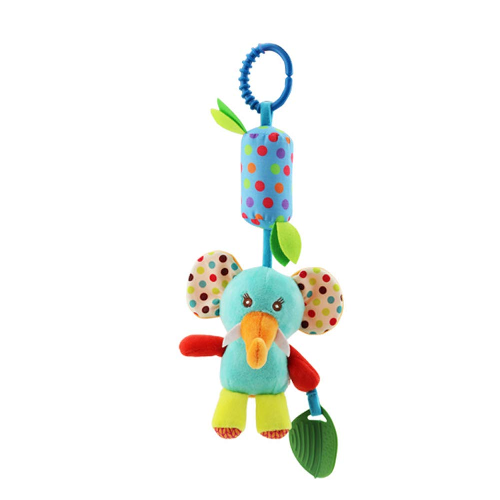 Baby Rattle Toys Infant Stroller Car Seat Crib Travel Activity Plush Animal Wind Chime with Teether for Boys Girls by Sportsvoutdoors Crinkle Squeaky Toy Soft Hanging Rattle