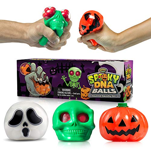Spooky DNA Stress Balls For Kids & Adults | Halloween Squishy Ball Gift Set For Stress Relief, Physical Exercise & Relaxation | Pumpkin, Ghost & Skull Squeeze Balls | ADHD Sensory Fidget Toy 3-Pack