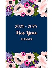 Five Year Planner 2021-2025: 60 Months calendar and pocket schedule, small notebook time management for time management 5 years with flower frame cover