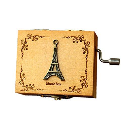 wonderfulwu Caja de música, Mano Rock de madera retro de madera caja de música de madera con castillo en el cielo regalo...