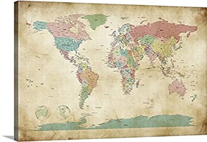 Amazon michael tompsett premium thick wrap canvas wall art michael tompsett premium thick wrap canvas wall art print entitled political map of the world gumiabroncs Images
