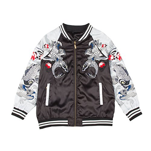 Standard Issue Koi Black / Silver Souvenir Jacket - Shop Nyc Japanese