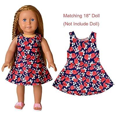 Jxstar Matching Girls & Doll Flower Dresses Sleeveless Summer 18