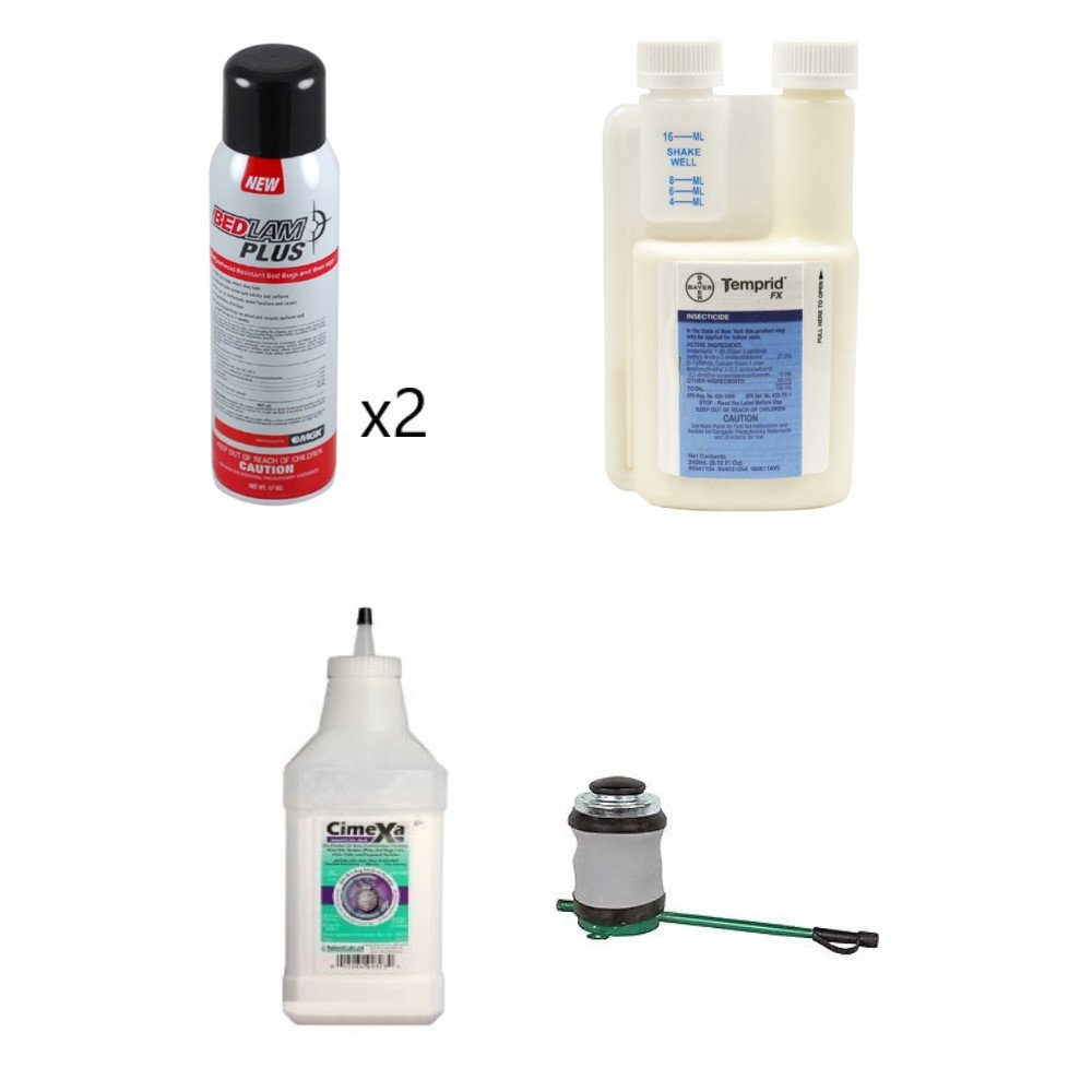 Pyrethroid Resistant Bed Bug Control Kit with Temprid (2) Bedlam Plus Tempo Dust Bellows Hand Duster
