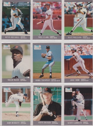 San Francisco Giants 1991 Fleer Ultra Baseball Team Set (Will Clark) (Kevin Mitchell) (Robby Thompson) (Matt Williams) (Scott Garrelts) (Darren Lewis) (Don Robinson) (Jose Uribe) (Kevin Bass) (Jeff Brantley)