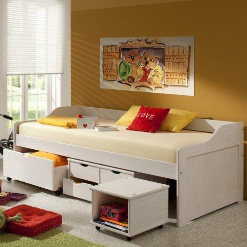 funktionsbett sofia funktionsliege jugendbett mit schubladen kiefer massiv wei 90 x 200 cm b x. Black Bedroom Furniture Sets. Home Design Ideas