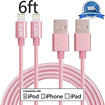AOFU Lightning Cable,2Pack 6FT/2M Extra Long Nylon Braided USB Sync Charging Cables Cord Charger for iPhone SE/6s/6s Plus/6/6Plus/5s/5c/5, iPad Air/Mini,iPod Nano/Touch