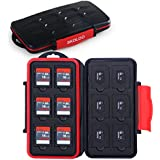Skoloo Memory Card Holder, SNUGLY-FIT/Waterproof/12+12 Slots/SD Micro SD SDHC SDXC TF Card Carrying Case Organizer Box Wallet for SanDisk Nintendo Kingston Camera Canon Samsung, Black