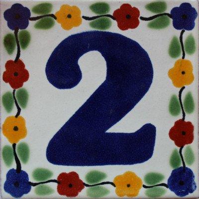 2 pcs Bouquet Talavera Tile Number Two