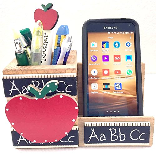 WOODEN CELL PHONE STAND/MEMO - PEN HOLDER, AA-R92 ABC - w/Red APPLE & ABC DESIGN made in USA. TEACHER APPRECIATION GIFT. Accessories are not included unless ()