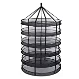 TopoGrow 6- Layer Black Mesh Hanging Herb Drying Rack Dry Net for Storage Drying Seeds (3FT 6-Layer)