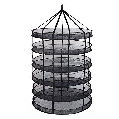 TopoGrow 6- Layer Black Mesh Hanging Herb Drying Rack Dry Ne