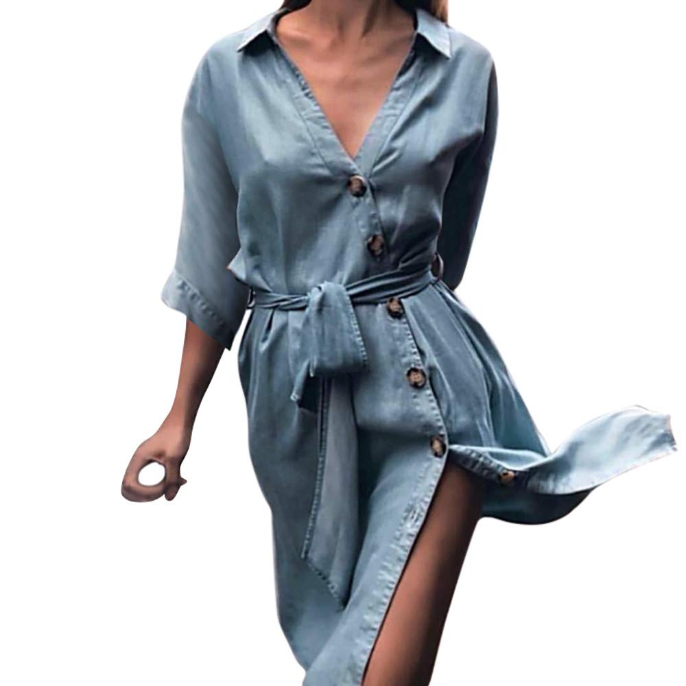 Brief Swing Dresses for Women Lady Shirt Collar Half Sleeve Beach Denim Wide Cuff High Waist Line