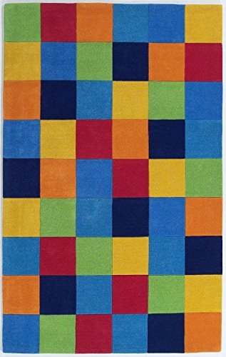 KAS Oriental Rugs Kidding Around Collection Boys Color Blocks Area Rug, 3'3