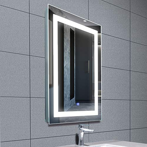 Mecor LED Lighted Bathroom Mirror Silvered Wall Mounted Mirror with Touch Button,Anti Fog and IP44 Waterproof Hanging Rectangle Vertical Mirror,30
