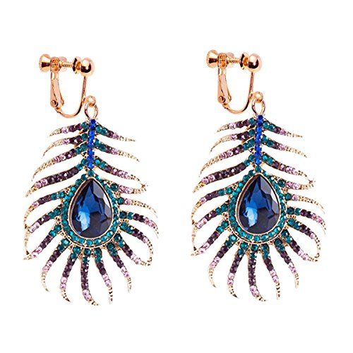 Dangle Clip on Earring Screw on backs Girls Crystal Hook Sparkling Rhinestone CZ Peacock Feather ()