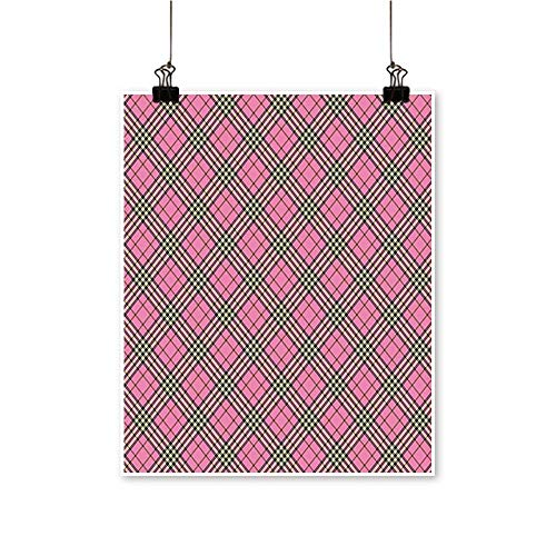 Hanging Painting Ethnic Tartan Pattern Scottish Striped Checkered Graphic Tile Print Pink Black Rich in Color,20