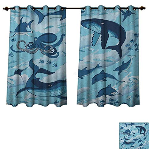 PriceTextile Shark Blackout Thermal Curtain Panel Inhabitants of Ocean Sharks Whales Dolphins Octopus Jellyfish Starfish with Waves Image Patterned Drape for Glass Door Blue Size W52 xL63
