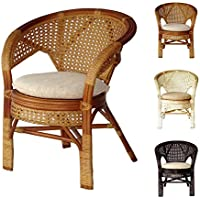 Pelangi Handmade Rattan Dining Wicker Chair W/cushion Colonial (Light Brown)