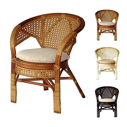 Amazon Com Pelangi Handmade Rattan Dining Wicker Chair W Cushion