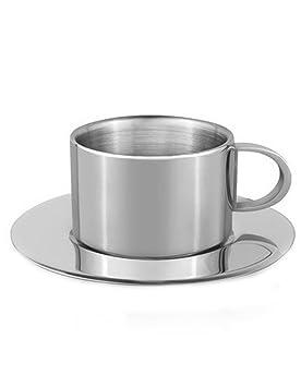 iecool - Juego de tazas de café (acero inoxidable, redondas ...
