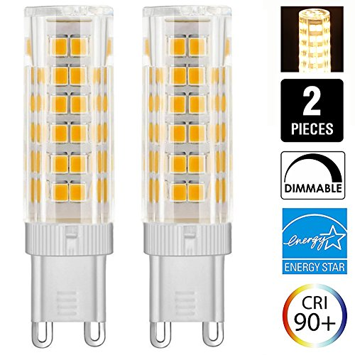 6W Dimmable G9 LED Light Bulb 50W JCD Halogen Bulbs Equivalent T3 T4 Omni-directional LED Bulb for Ceiling Fan, Indoor Decorative Lighting, Pack of 2 (6W, Warm White)