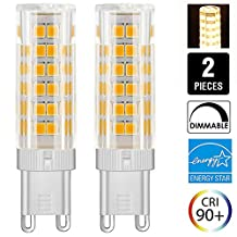 Dimmable G9 LED Bulb, 6 Watt, 500 Lumen, 50W Halogen Bulbs Equivalent, 360° Beam Angle, 120 Volt, T4 G9 LED Halogen Replacement Bulb, 2-Pack (6W, Warm White)