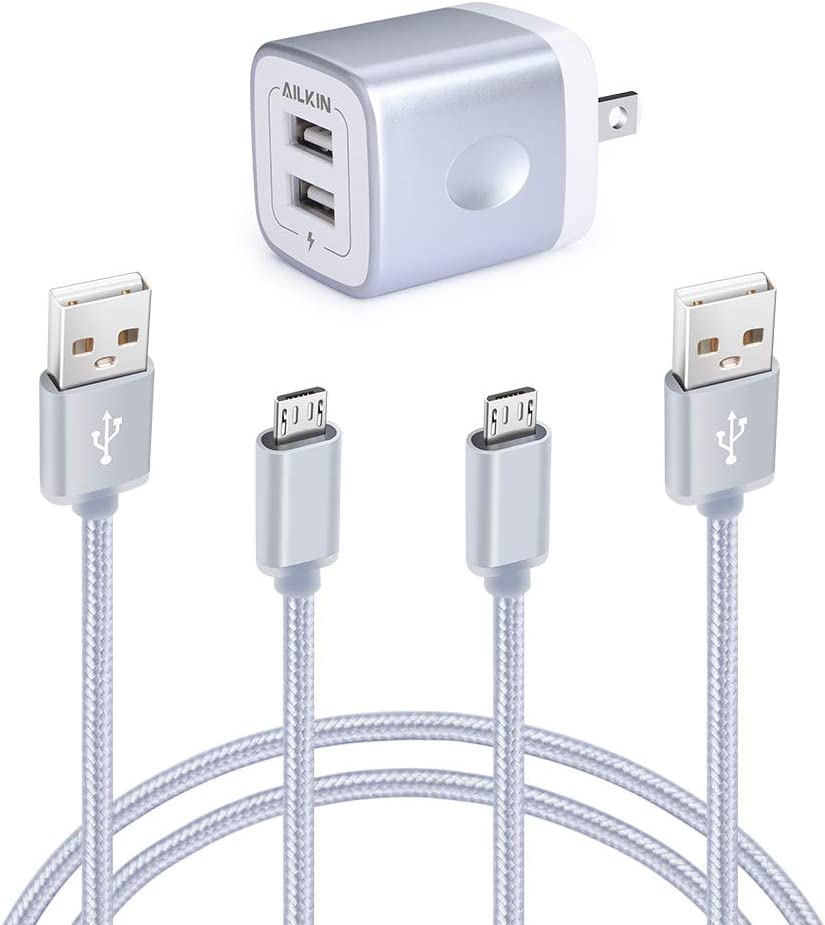 AILKIN Micro USB Charger, Samsung Galaxy J7 Charger, Rapid 2Port USB Wall Charger Base & 2Pack Fast Charging Cords for LG G4 Stylo 2 Charger, Cargador ...