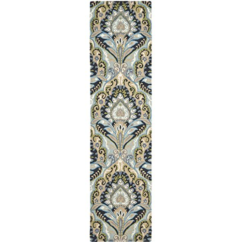 lection WYD374A Handmade Blue and Multi Wool Runner, 2 feet 3 inches by 11 feet (2'3