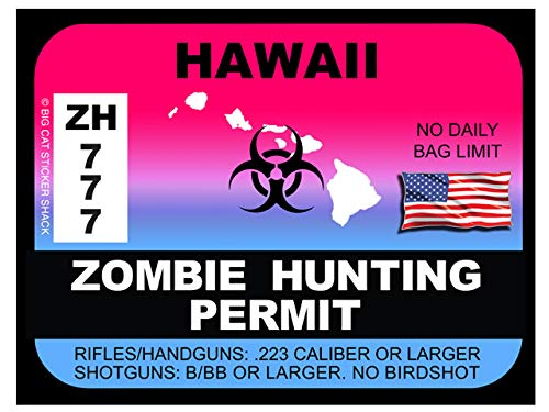 Hawaii Zombie Hunting Permit(Bumper Sticker)