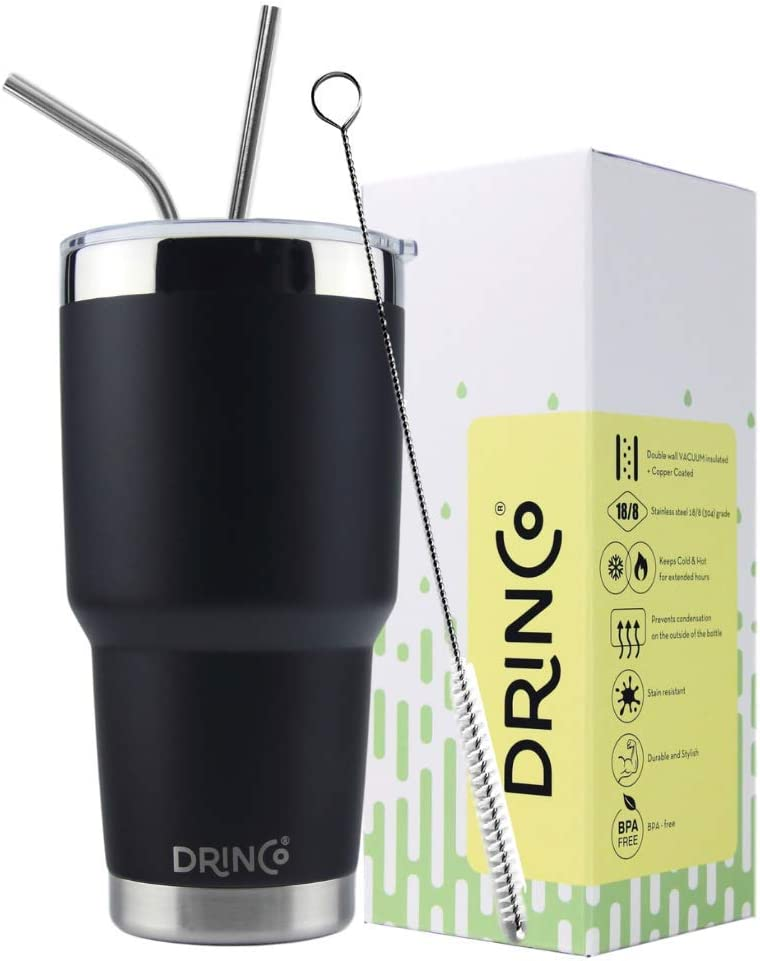 DRINCO - 30 oz Stainless Steel Tumbler | Double Walled Vacuum Insulated Mug With Spill Proof Lid, 2 Straws, For Hot & Cold Drinks (Black, 30 oz)