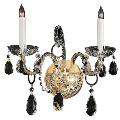 (Crystorama 1122-PB-CL-SAQ Crystal Accents Two Light Wall Sconce from Traditional Crystal collection in Brass-Polished/Castfinish, 6.00 inches)