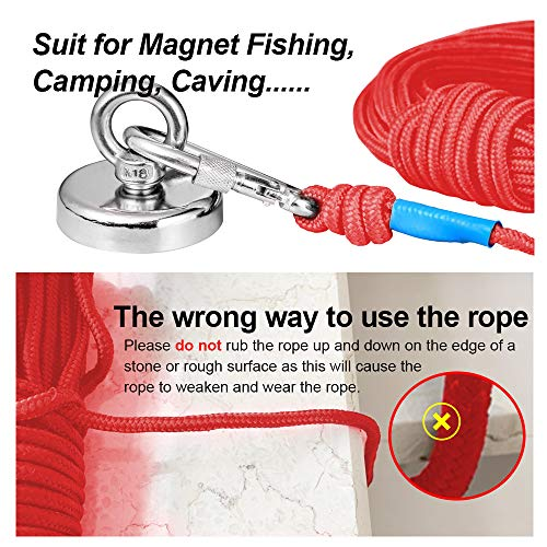 BRYUBR Rock Climbing Rope, Magnet Fishing Rope with Carabiner, 6mm/8mmx20M(65ft) Nylon Rope Safe and Durable, All Purpose High Strength Braid Rope fit for Indoor/Outdoor Sports