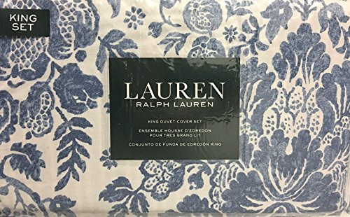 Ralph Lauren Traditional Classic Floral Print KING Duvet Cover Set in Antique Blue on Ivory| 100% Cotton](Ralph Lauren Linens)