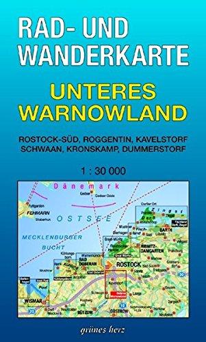 Rad- und Wanderkarte Unteres Warnowland: Mit Rostock-Süd, Roggentin, Kavelstorf, Schwaan, Kronskamp, Dummerstorf. Maßstab 1:30.000. Landkarte – Folded Map, 1. Oktober 2001 Lutz Gebhardt grünes herz 3935621108 Mecklenburg-Vorpommern