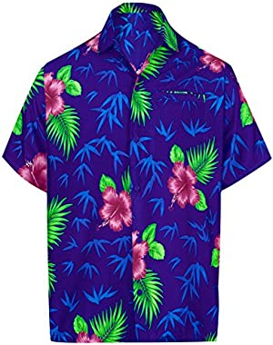 Button Down Short Sleeve Cruise Hawaiian Regular Fit Beach Shirts Golf Men Aloha Camp